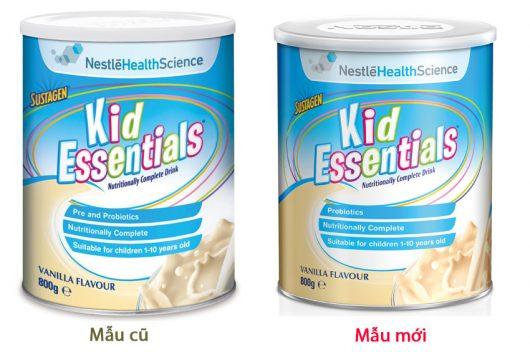 Sự thay đổi về mẫu mã sữa Kid Essentials gần đây từ phía nhà sản xuất
