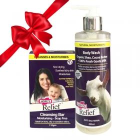 Combo Sữa tắm & Thanh rửa mặt Hope's Relief chăm sóc viêm da cơ địa