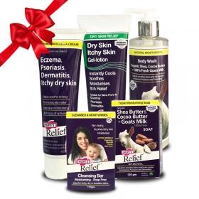 Combo Kem đặc trị eczema – Gel dưỡng da – Xà bông - Sữa tắm – Thanh rửa mặt Hope's Relief điều trị và chăm sóc viêm da cơ địa