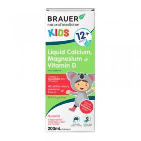 Siro bổ sung canxi, magie, vitamin D Brauer Úc cho trẻ trên 12 tháng tuổi 200ml