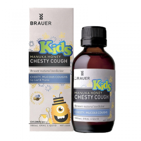 Siro ho đờm Brauer cho bé trên 2 tuổi - Brauer Kids Manuka Honey Chesty Cough (100 ml)