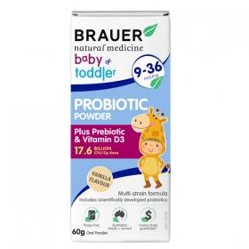 Men vi sinh Brauer dạng bột dành cho trẻ từ 9-36 tháng tuổi 60g – Brauer Natural Medicine baby & Toddler Probiotic Powder 60g