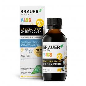 Siro ho đờm Brauer cho bé trên 2 tuổi - Brauer Kids Manuka Honey Chesty Cough (100 ml)