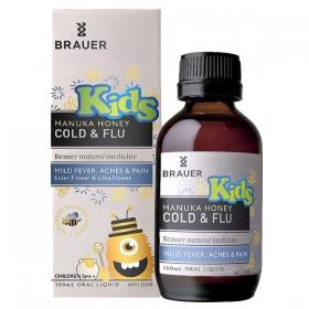 Siro trị cảm cúm chiết xuất mật ong Brauer cho bé trên 2 tuổi - Brauer Kids Manuka Honey Cold & Flu (100ml)