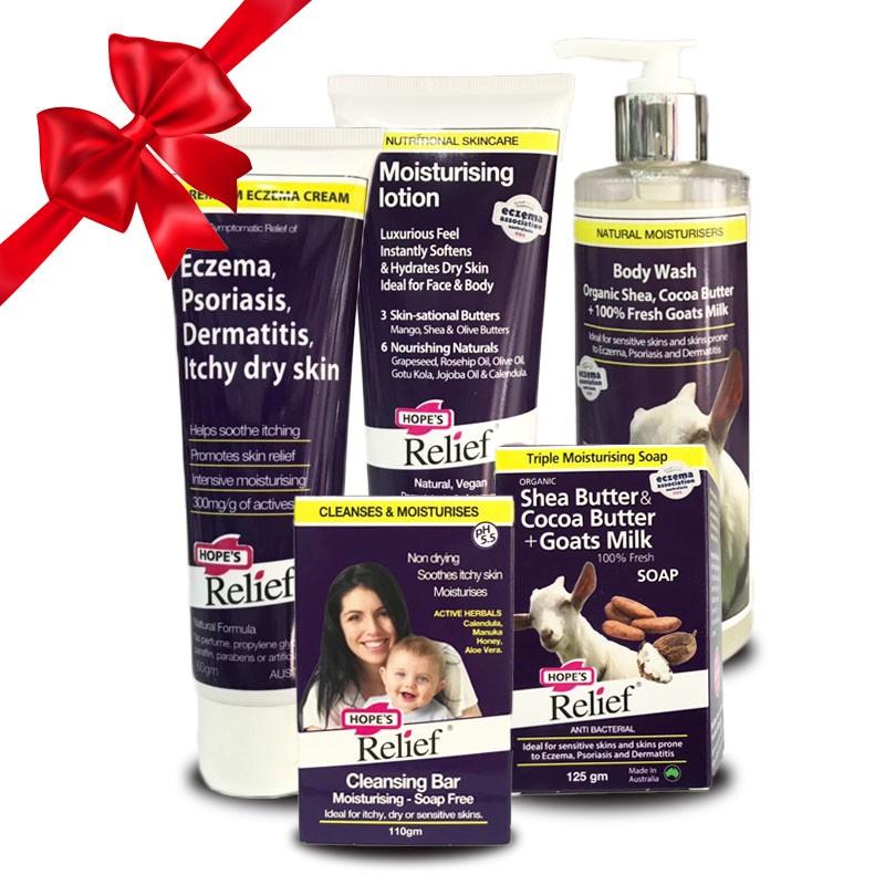 Combo Kem eczema – Kem dưỡng ẩm – Xà bông - Sữa tắm – Thanh rửa mặt  Hope's Relief vệ sinh và chăm sóc viêm da cơ địa