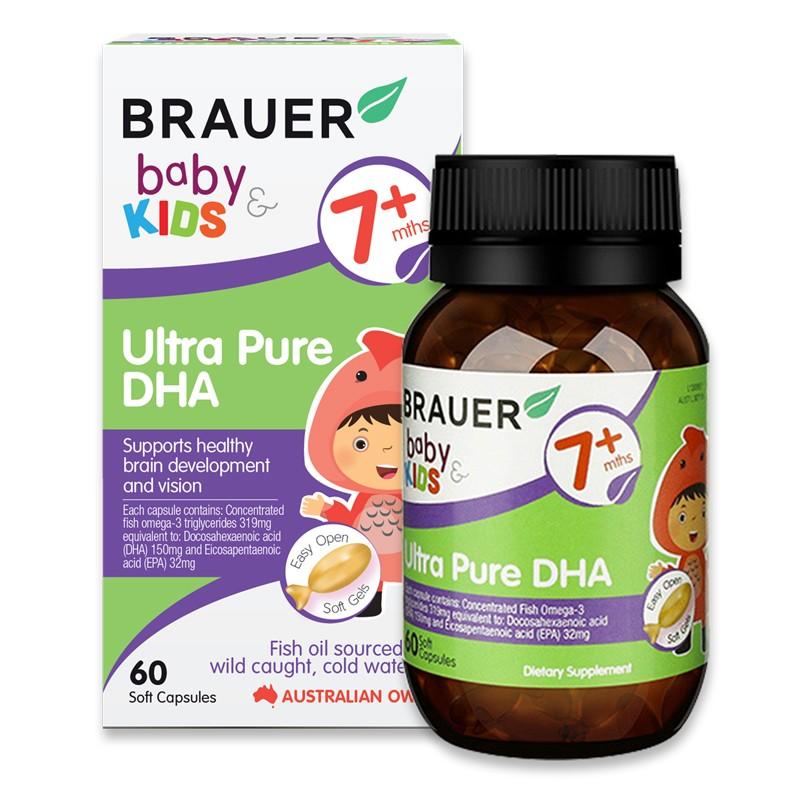 Bổ sung DHA siêu tinh khiết của Brauer Úc cho trẻ từ 7 tháng tuổi 60 viên