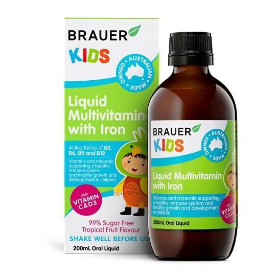 Siro bổ sung vitamin tổng hợp và sắt Brauer Úc cho trẻ trên 3 tuổi (200ml)