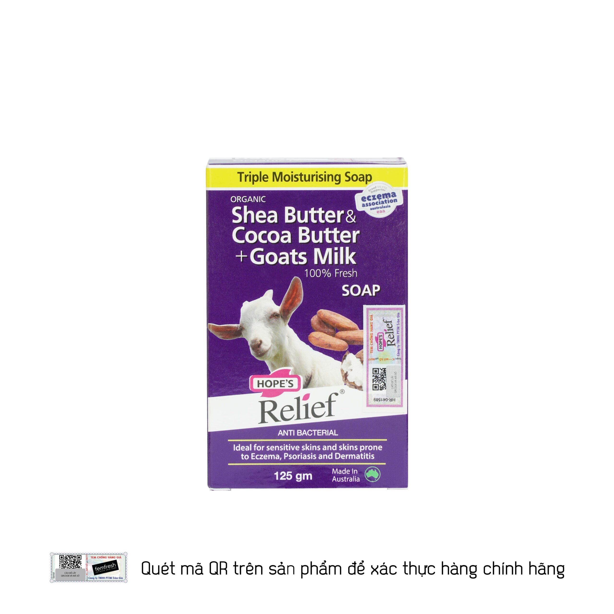 Xà bông Hope's Relief làm sạch, diệt khuẩn, dưỡng ẩm cho da khô ngứa, eczema, vảy nến từ tinh chất sữa dê và bơ ca cao 145gam