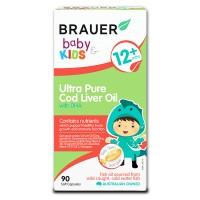 Dầu gan cá tuyết siêu tinh khiết kết hợp DHA Brauer cho trẻ trên 1 tuổi (90 viên)