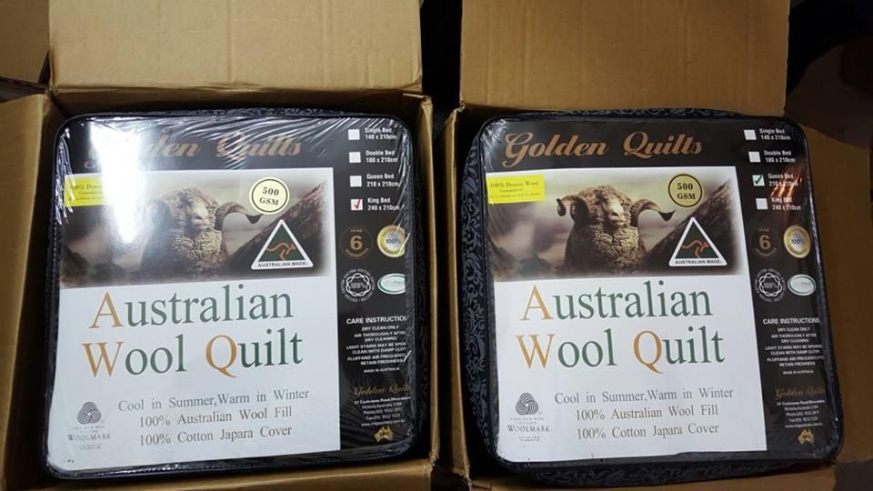 Chăn lông cừu cao cấp của Úc - GOLDEN QUILT 500G King Size