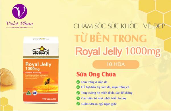 Sữa ong chúa Blossom Royal Jelly 10-HDA 1000mg (100 viên)