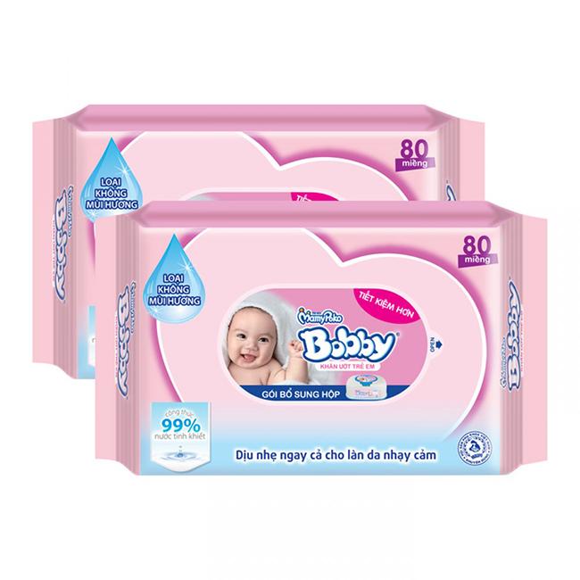 Khăn ướt Bobby không mùi 80 tờ