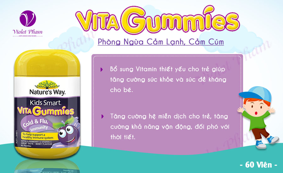 Công dụng Nature's Way Kids Smart Vita Gummies 60 viên