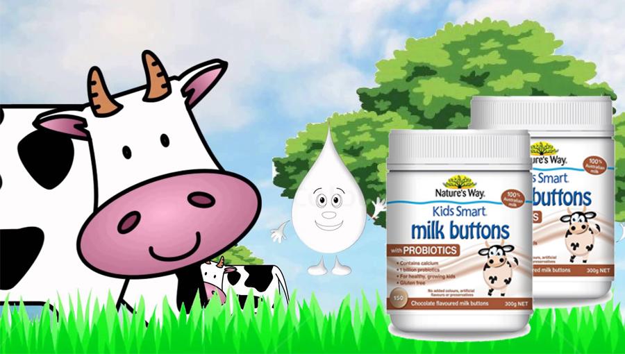 Viên sữa Probiotic Úc Nature's Way Milk Buttons 150 viên