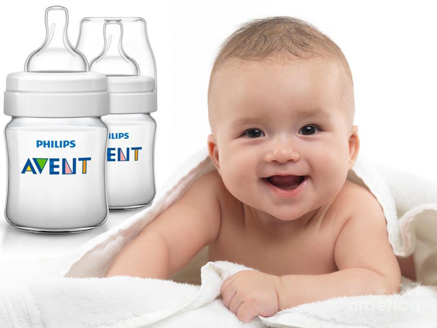 Bình sữa bằng nhựa không có BPA Philips Avent 125ml - Bình đôi SCF 560/27.