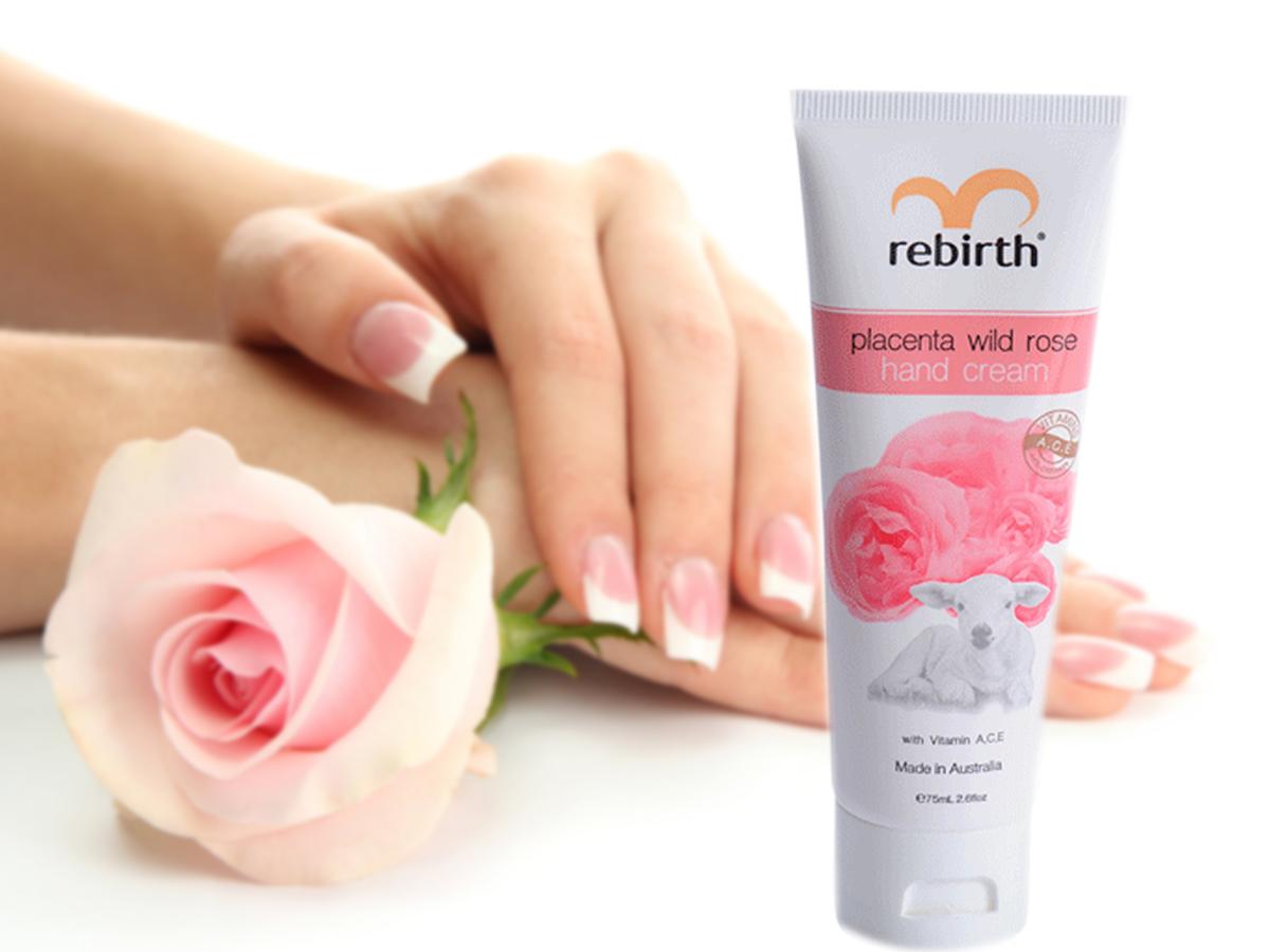 Rebirth Placenta Wild Rose Hand Cream 75ml chiết xuất nhau thai cừu và tinh chất hoa hồng