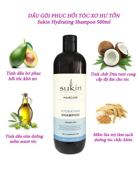 Dầu Gội Phục Hồi Tóc Khô Xơ Chẻ Ngọn Sukin Hydrating Shampoo 500ml